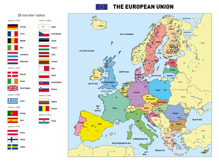 Vector highly detailed political map of The European Union with flags and capitals. All elements are separated in editable layers clearly labeled.