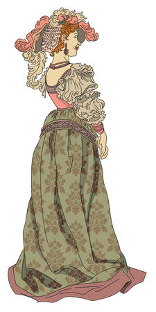 Vector retro woman from nineteenth century