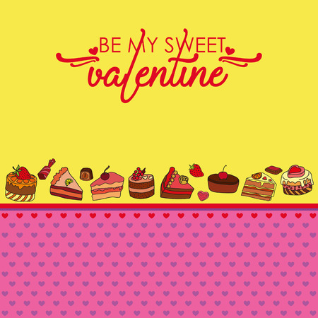 Vector greeting card for Saint Valentines Day. Be my sweet Valentine! Perfect for printing on paper.