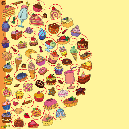 Vector set of different sweets. Background with sweets. Sweets icon. Sweets. Illustration
