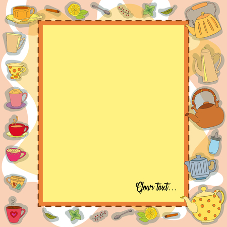 sugarbowl: Vector frame Tea Party. Colorful background with sweets. Perfect for printing on fabric or paper. Illustration