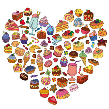 Vector set of different sweets in the shape of heart. Background with sweets. Sweets icon. Sweets logo.