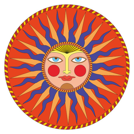 Vector summer sun in russian style, ornamental decoration. Illustration