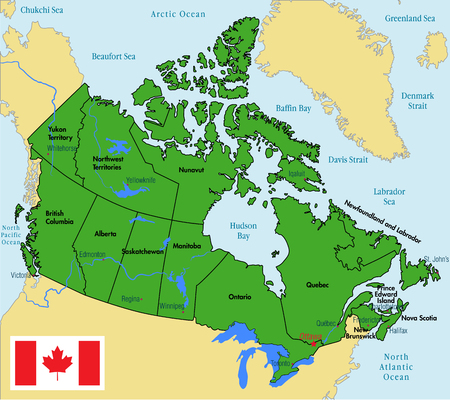 Colorful Canada Map With Provinces And Capital Cities Royalty Free - Labeled map of canada