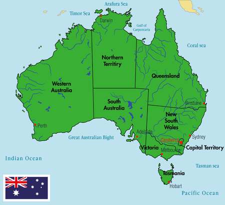 Vector Highly Detailed Political Map Of Australia With Regions - Us map separated by region