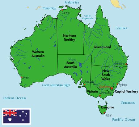 Politische Landkarte Von Australien Mit Den Verschiedenen Staaten