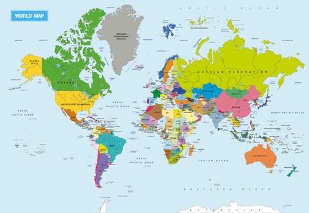 Nouvelle carte politique mondiale très détaillée avec des capitaux et des rivières. Illustration vectorielle. Couches séparées. Vecteurs