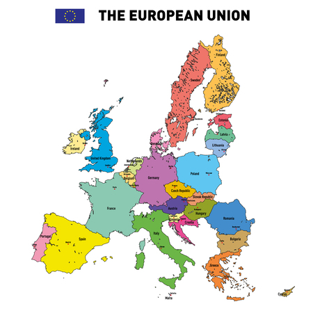 all european flags: Vector highly detailed political map of The European Union with flags and capitals. All elements are separated in editable layers clearly labeled.