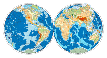 Hemisphere of Earth. Vector illustration.