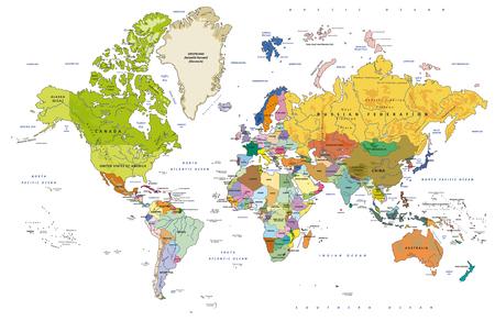 Bardzo szczegółowa polityczna mapa świata ze stolicami, rzekami. Oddzielne warstwy. Ilustracji wektorowych. Ilustracje wektorowe