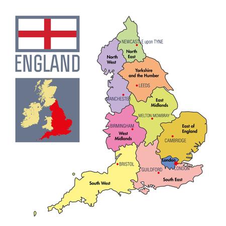 非常に詳細な地域と彼らの首都のイギリスの政治地図をベクトルします。すべての要素は編集可能なレイヤーが明確にラベル付けで区切られます。EPS 10