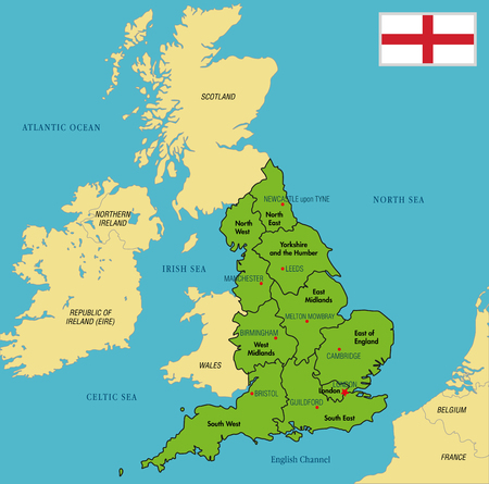 Vector highly detailed political map of England with regions and their capitals. All elements are separated in editable layers clearly labeled. EPS 10 Illustration
