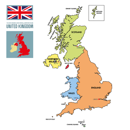 Vector detailed political map of The United Kingdom of Great Britain and Northern Ireland with regions and their capitals. All elements are separated in editable layers clearly labeled. EPS 10 Illustration