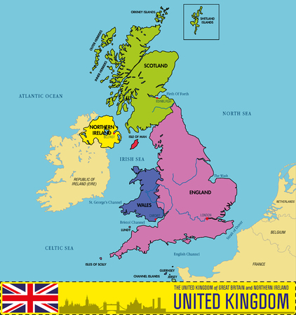 Vector political map of The United Kingdom of Great Britain and Northern Ireland with regions and their capitals. All elements are separated in editable layers clearly labeled. EPS 10