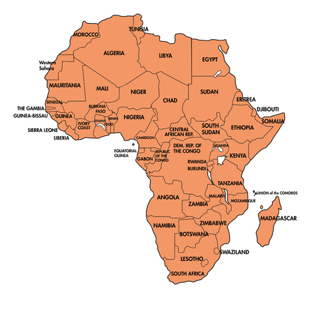 Highly Detailed Political Map Of Continent Located On The African