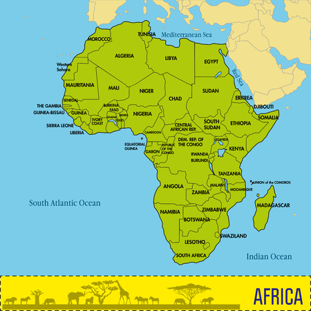 Highly detailed political map of continent, located on the African continental plate with all countries and their capitals. Vector Illustration
