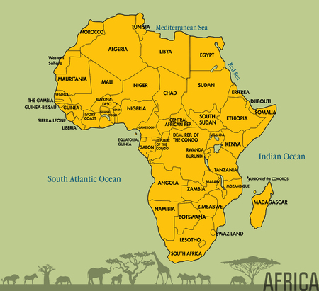 Highly Detailed Political Map Of Continent Located On The African - What continent is sudan in
