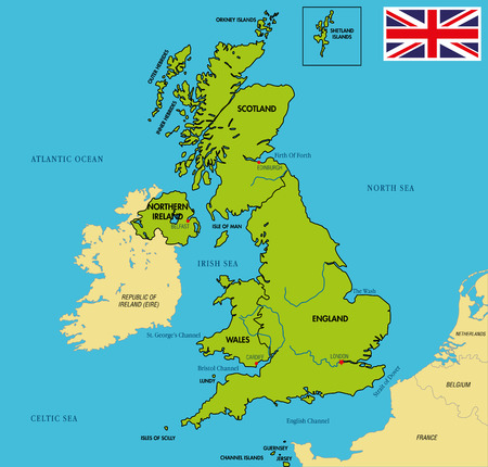 Vector highly detailed political map of The United Kingdom of Great Britain and Northern Ireland with regions and their capitals.