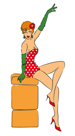Pin-up girl. Perfect for put on your poster. Vector illustration Illustration