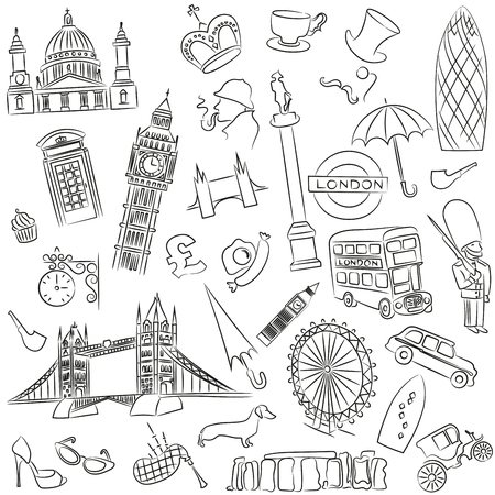Vector set of symbols of England. EPS 10