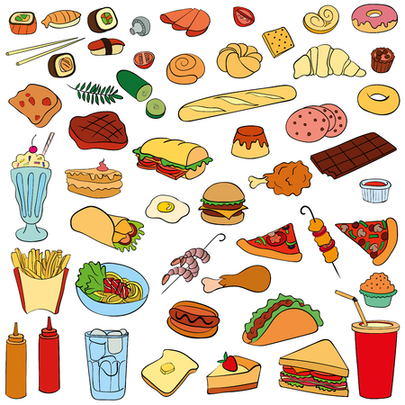 Set of fast food. Vector illustration, perfect for scrapbooking Çizim