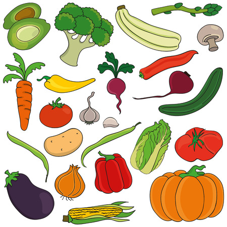 Set of vegetables. Vector illustration, perfect for scrap-booking