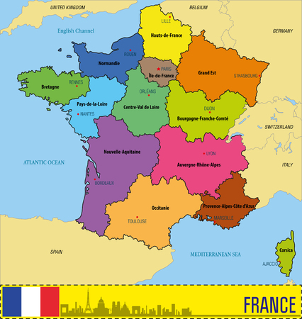 Vector highly detailed political map of France with regions and their capitals. All elements are separated in editable layers clearly labeled. EPS 10