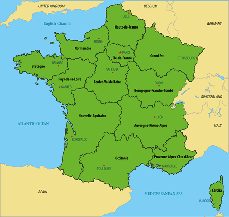 Vector Highly Detailed Political Map Of France With Regions And - Us map separated by region