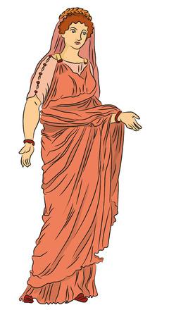 Roman woman in vector Illustration