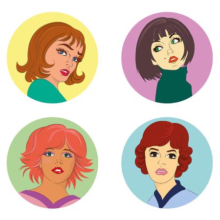 earrings: Set of fashion faces. Vector illustration
