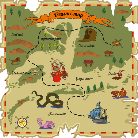 filibuster: Treasure map with different obstacles. Vector illustration