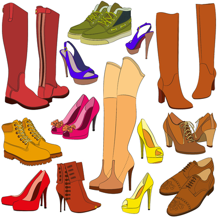 spiked: Collection of different shoes of various types footwear, vector illustration. Different fashion shoe boots. Perfect for scrapbooking