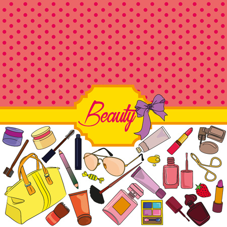 maquillage: Set of cosmetics and fashion background.