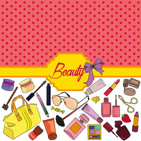 Set of cosmetics and fashion background.