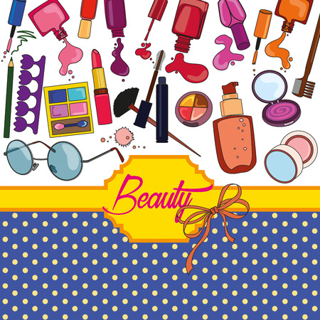 Set of cosmetics and fashion icons.
