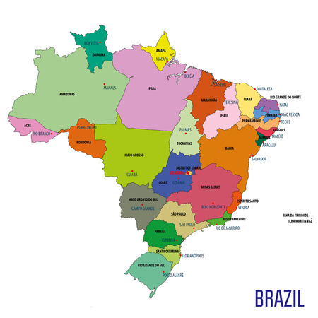 Political map of Brazil with regions and their capitals