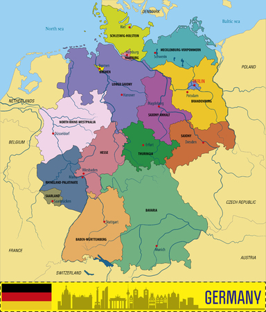 Political vector map of Germany with regions and their capitals including all layers detachable and labeled.
