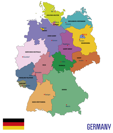 Political vector map of Germany with regions and their capitals including all layers detachable and labeled on white backdrop