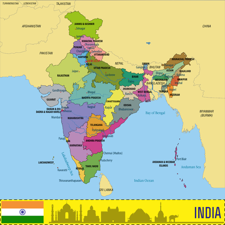 Political detailed map of India with all states and country boundary