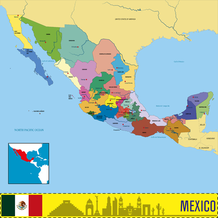 Vector highly detailed political map of Mexico with regions and their capitals. All elements are separated in editable layers clearly labeled.