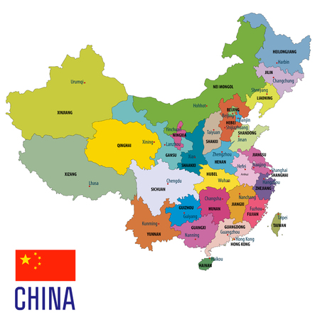 China political map with clearly labeled, separated layers. Vector illustration. Reklamní fotografie - 97192143