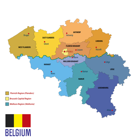 Political vector map of Belgium with all regions. All layers clearly separated