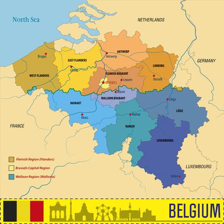 Politische Vektorkarte von Belgien mit allen Regionen. Alle Schichten klar getrennt