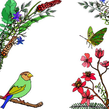 Cornice di fiori, uccelli e farfalle con posto per un testo.