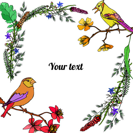 Frame of flowers with birds with place for a text.