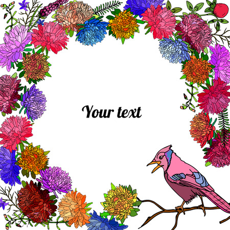 Frame of asters and bird with place for a text.