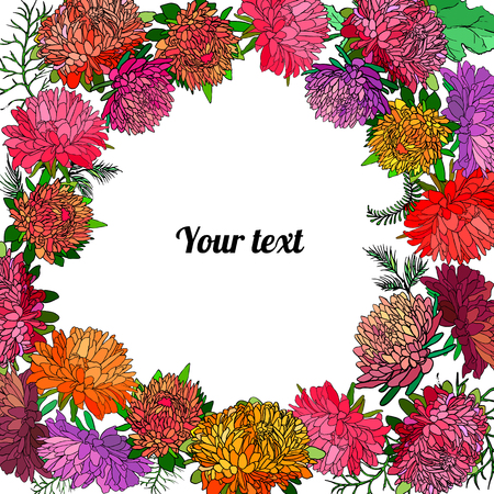 Frame of asters with place for a text. Ilustração