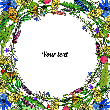 Frame of dandelions and trefoil with place for a text.