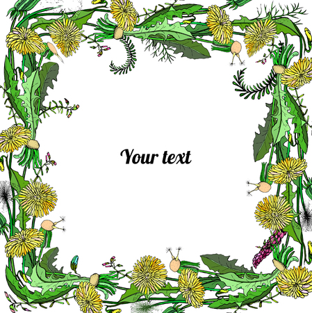 Frame of dandelions and flowers with place for a text. Vector illustration Ilustração