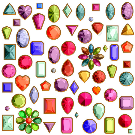 Vector set of realistic precious stones jewels isolated on white background with different cuts. Princess cut jewel. Round cut jewel. Emerald cut jewel. Oval cut jewel. Pear cut jewel . Heart cut jewel.
